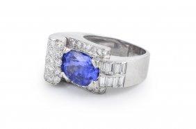 Platinum And Sapphire Diamond Ring