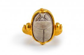 Ancient Egyptian Scarab Set In Gold Ring
