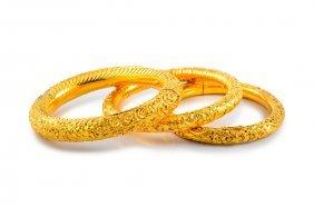 Set Of Three High Karat Gold Bangles
