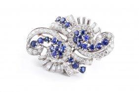 Tiffany Platinum Diamond Sapphire Double Clips