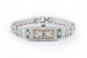 Art Deco Platinum Diamond And Emerald Ladies' Watch