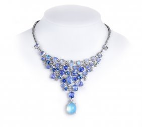 Cartier Moonstone, Diamond, And Sapphire Bib Necklace