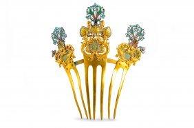 Antique Brass Gold Plated Plique-a-jour Hair Ornament