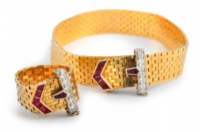 Retro Diamond Ruby Belt Buckle Ring Bracelet Set