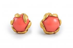 David Webb Gold And Coral Earclips
