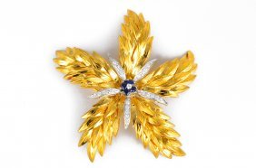 Tiffany Gold Diamond And Sapphire Star Flower Brooch