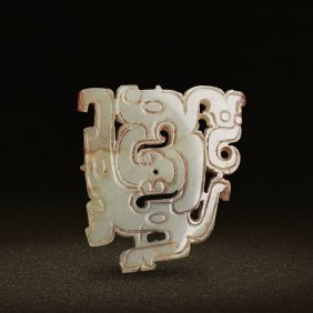 A Chinese Openwork Jade Dragon And Phoenix Scroll