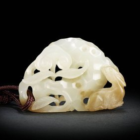 A Chinese White Openwork Rabbit Ornament