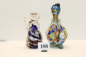 2 Hand Blown Glass Figurines