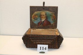 Tramp Art Cigar Box With Portrait