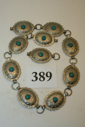 10 Silver – Turquoise Conchos Belt