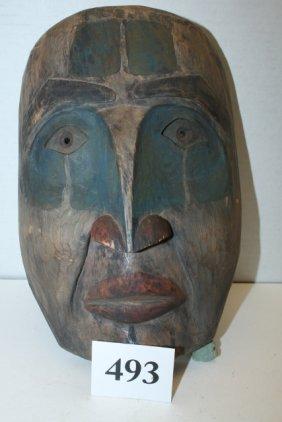 Carved Polychrome Painted Eskimo Mask