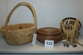 3 Assorted Indian Baskets
