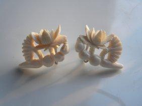 Pair Of Carved Lotus Root And Flower Earrings