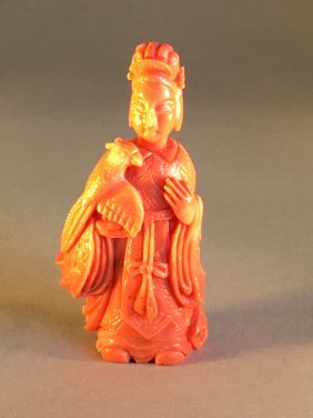 Antique Pink Coral Snuff Bottle Of A Lady With Phonix