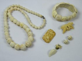 Lots Of Ivory Necklaces, Bracelet, Earrings And Brooch