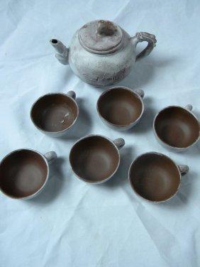 Set Of Chinese Yixing Zisha Teapot And Tea Cups