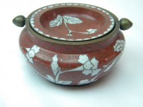 Antique Chinese Red Cloisonne Ashtray Marked China
