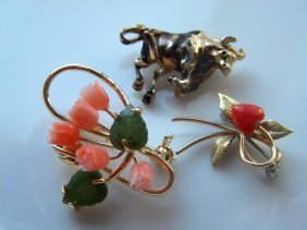 Three Tulip Pink Coral And Jade Brooch Pin And Cow Pin