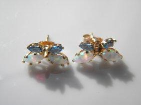 Pair Of 14k Gold Opal Butterfly Earrings