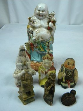 Group Of Antique Chinese Buddha Statues And Soapstone