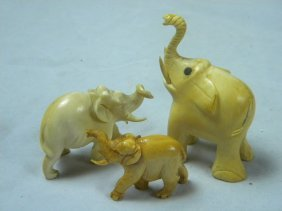 Lot Of Three Carved Elephant Statues