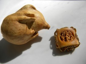 Antique Chinese Carved Brooch Pin And Gourd