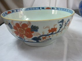 Antique Chinese Blue And White And Red Big Bowl