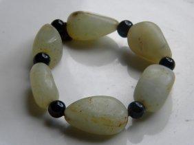 Antique Chinese Nephrite Jade Pebble Bracelet
