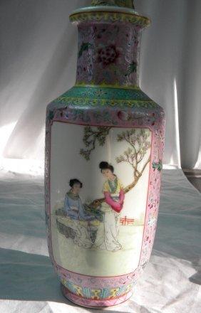 Vintage Famille Rose Chinese Beauty Vase