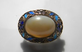 Antique Chinese Silver Enamel Shell Brooch Pin