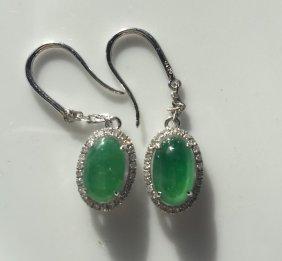 Pair Of 18k Gold Diamond Natural Jadeite Earrings