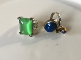 Two Rings Lapis Silver And Green Stone