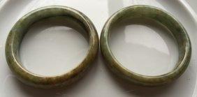 Pair Of Natural Grade A Jadeite Bangle Bracelet