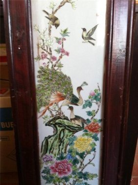 Chinese Enamel Fencai Porcelain Peecock Wood Panel