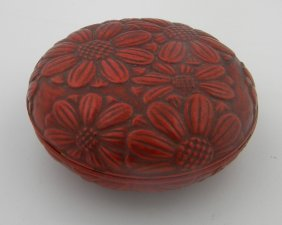 Antique Asian Lacquer Box Carved Flower
