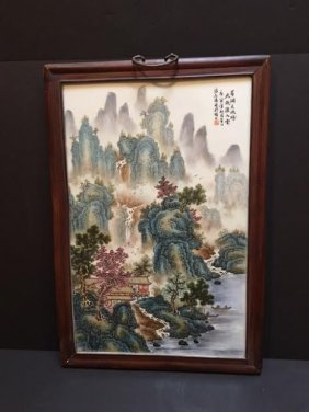 Chinese Porcelain Plaque Framed