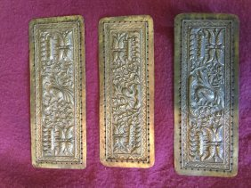 Three Antique Chinese Silver Plaques