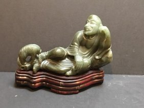 Carved Jade Lohan With Pet Dog With Rosewood Base