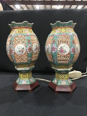 Pair Of Chinese Porcelain Wedding Lamps