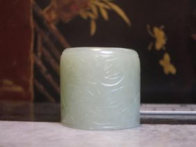 Carved White Jade Archer's Ring