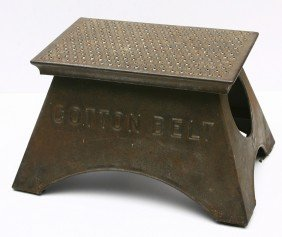 COTTON BELT Marked Step Stool, Original Condition.