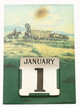 Vintage Tin Calendar W/ Cardboard Day And Month 12