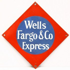 """Vintage Red & Blue Porcelain WELLS FARGO Sign, 12"""""""