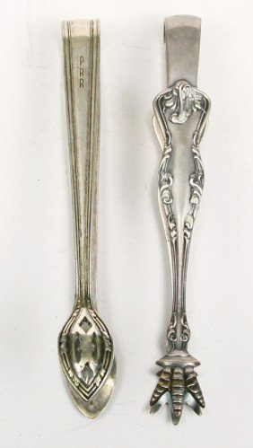 Collection Of 2 R.R. Marked Sugar Tongs For U.P. S