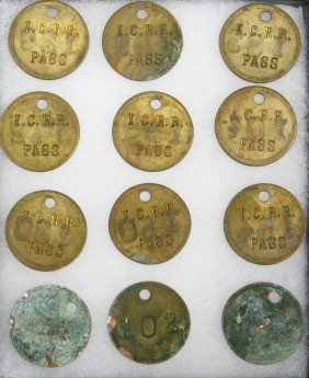 12 Early Brass I.C.RR. Round Passes. Sold As One L