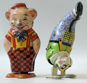 Lot Of 2 Chein Tin Wind-up Toy Figures, Handstand Clown