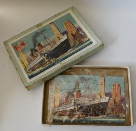 1930's Hayter Wooden Puzzle Of Queen Mary At New York,