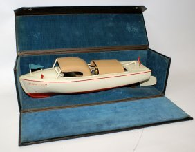 Rare Salesman Sample Clockwork Celluloid Toy Boat In