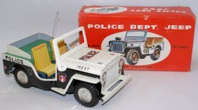 Tin Friction Police Dept Jeep With Siren Sound, Made In